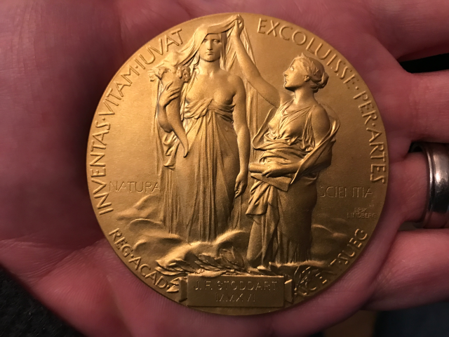 So that's what the other side of a Nobel medal looks like.